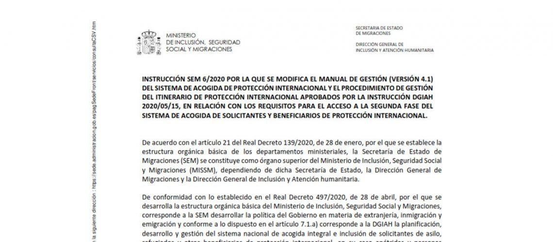 INSTRUCCION SEM 6-2020 PROTECCION INTERNACIONAL